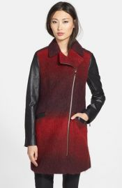 Ted Baker London and39Annamaeand39 Ombrand233 Moto Jacket with Leather Sleeves at Nordstrom
