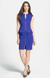 Ted Baker London and39Jamthunand39 Structured Peplum Cotton Blend Sheath Dress in blue at Nordstrom