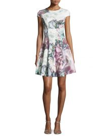 Ted Baker Mah Illuminated Bloom Floral-Print Fit   Flare Dress  Purple at Neiman Marcus