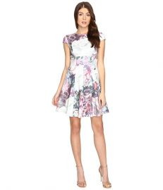 Ted Baker Mah Illuminated Bloom Skater Dress Purple at Zappos
