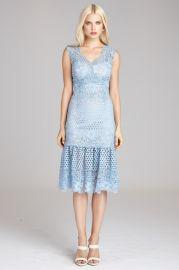 Teri Jon by Rickie Freeman  Circle Lace Sheath Dress with Flare Hem  at Teri Jon