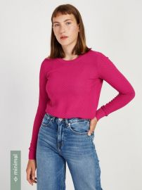 Textured Crewneck Sweater in Fuchsia at Frank and Oak