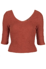 Textured Top in Rust at Topshop