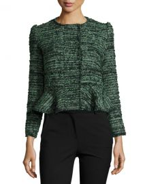 Textured Tweed Peplum Jacket at Neiman Marcus