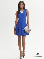 Textured fit and flare dress  at Banana Republic