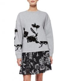 Thakoon Addition Flocked Floral Sweatshirt at Neiman Marcus