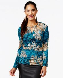 Thalia Sodi Embellished Tri-Cut Ruched Top Only at Macys at Macys