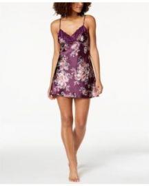 Thalia Sodi Floral-Print Lace-Trim Chemise at Macys