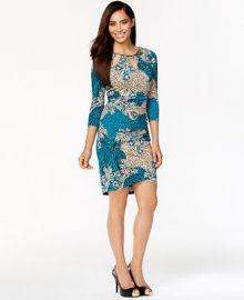 Thalia Sodi Mixed-Print Cutout Sheath Dress Only at Macys at Macys