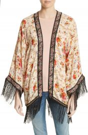 The Kooples Fleurs D Artifice Floral Print Fringe Kimono at Nordstrom