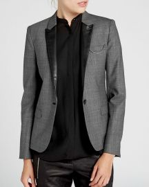 The Kooples Jacket leather Trim Prince of Wales Plaid at Bloomingdales
