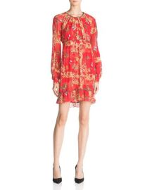 The Kooples Ruched Leaf & Butterfly-Print Silk Dress at Bloomingdales