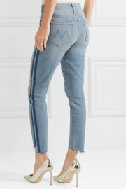 The Stunner striped cropped frayed high-rise skinny jeans at Net A Porter