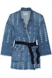 The Kimono printed stretch-denim jacket at The Outnet