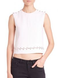 The Kooples - Embellished Crepe Cropped Top at Saks Off 5th
