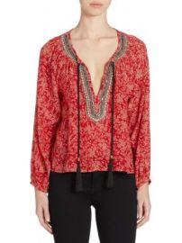The Kooples - Embellished Floral-Print Silk Top at Saks Fifth Avenue