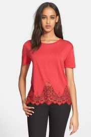 The Kooples   Lace Trim Jersey Top   Nordstrom Rack at Nordstrom Rack