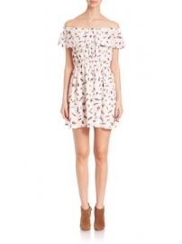 The Kooples - Off-The-Shoulder Feather-Print Silk Dress at Saks Off 5th