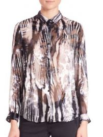 The Kooples - Zebra Burnout Blouse at Saks Off 5th