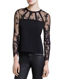 The Kooples Crepe  amp  Lace Top at Bloomingdales