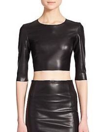The Kooples Faux Leather Cropped Top at Saks Fifth Avenue
