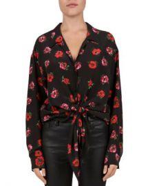 The Kooples Floral Tie-Front Silk Blouse Women - Bloomingdale s at Bloomingdales