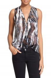 The Kooples Front Zip Burnout Zebra Top at Nordstrom