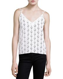 The Kooples Handcuffs Print Lace Trim Cami in Ecru at Bloomingdales