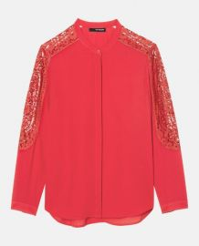 The Kooples Lace Inset Crepe Shirt Coral at Nordstrom