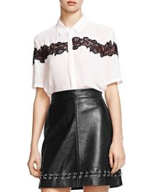 The Kooples Lace-Inset Crepe Shirt x at Bloomingdales
