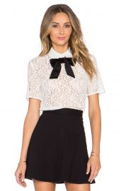 The Kooples Lace Top With Velvet Bow at Revolve