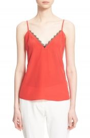 The Kooples Lace Trim Cr  pe de Chine Camisole at Nordstrom