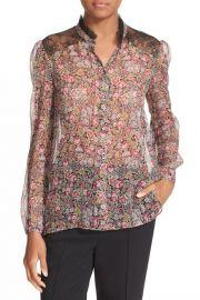 The Kooples Lace Trim Floral Print Silk Shirt at Nordstrom Rack