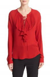 The Kooples Lace-Up Silk Ruffle Blouse at Nordstrom