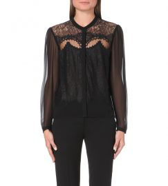 The Kooples Lace and Chiffon Top at Selfridges