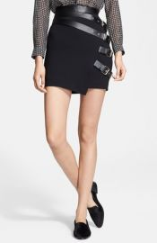 The Kooples Leather Buckle Detail Crepe Skirt at Nordstrom