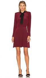 The Kooples Long Sleeve Tie Neck Dress in Rouge Noir  amp  Noir from Revolve com at Revolve