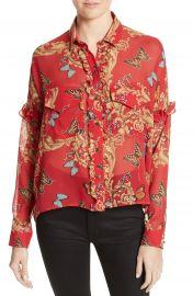 The Kooples Print Ruffled Silk Shirt at Nordstrom