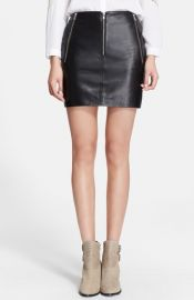 The Kooples SPORT Zip Detail Leather Skirt at Nordstrom