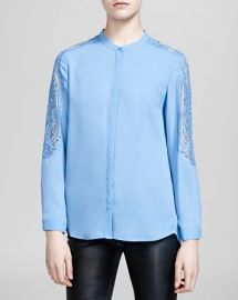 The Kooples Shirt - Matte Crepe andamp Lace Inset at Bloomingdales