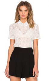 The Kooples Short Sleeve Lace Top in Ecru at Revolve