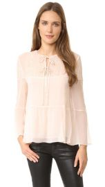 The Kooples Silk  amp  Lace Long Sleeve Blouse at Shopbop