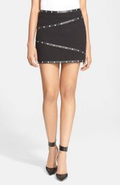 The Kooples Stud Detail Leather Trim Basket Weave Miniskirt at Nordstrom