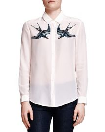 The Kooples Swallow-Print Silk Shirt at Bloomingdales