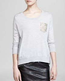 The Kooples Sweater - Wool andamp Leather Pocket at Bloomingdales