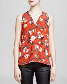 The Kooples Top - Spring Flower Print Silk Crepe de Chine at Bloomingdales