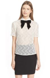 The Kooples Velvet Bow Lace Top at Nordstrom