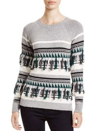 The Lane Fair Isle Fringed Crewneck Sweater at Bloomingdales