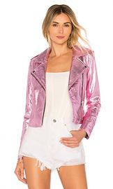 The Mighty Company Lecce the Biker Crop Jacket in Metallic Pink from Revolve com at Revolve
