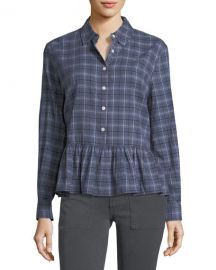 The Ruffle Long-Sleeve Plaid Oxford Shirt by The Great at Bergdorf Goodman